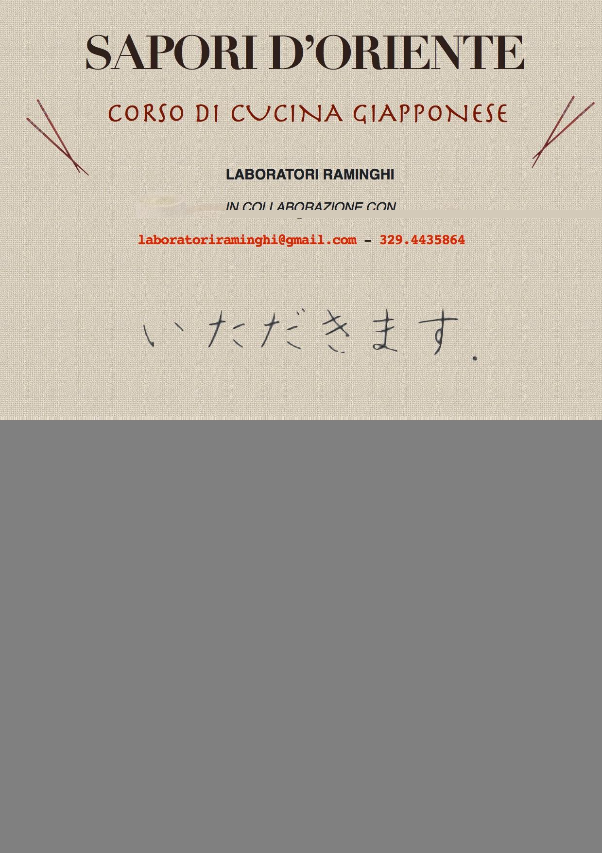 Iscrizioni ancora aperte per la seconda edizione del corso for Corso di cucina giapponese