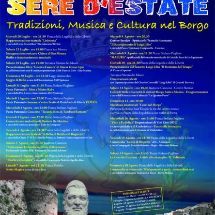 "Calendar of events of the ""Sere D'Estate"" in Cirò"