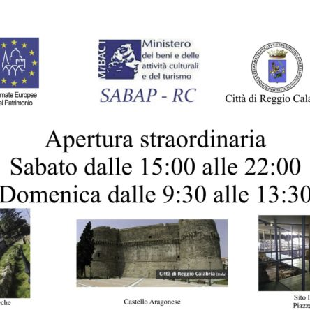 "Extraordinary opening of archaeological and cultural sites during ""European Heritage Days"" in Reggio Calabria"