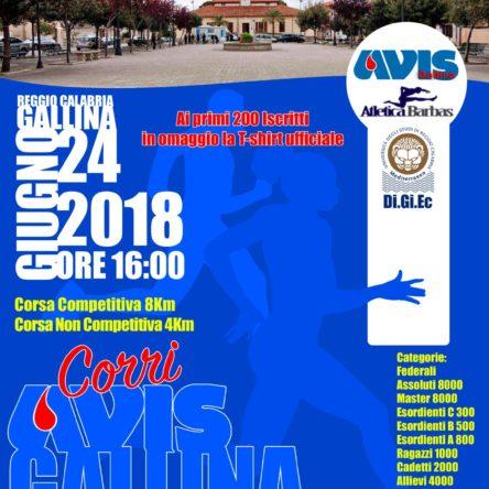Il 24 giugno corri con l'Avis di Gallina per promuovere la donazione del sangue… un gesto salvavita
