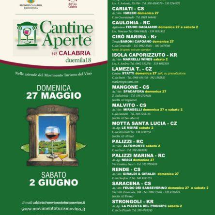 (Ita) Cantine aperte 2018. Il Movimento Turismo del Vino Calabria presenta l'evento che promuove l'enoturismo