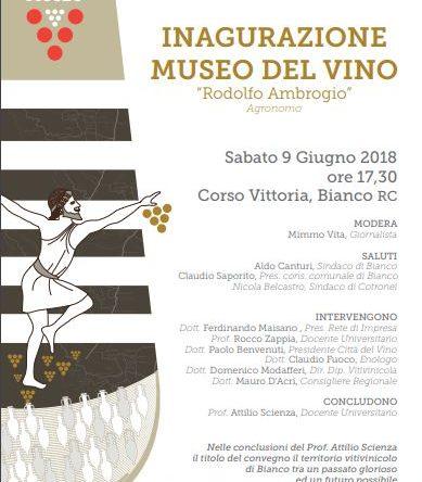 (Ita) Bianco (RC) inaugura il Museo del Vino