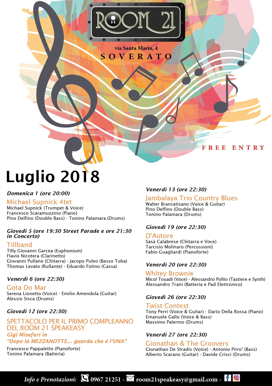 Calendario Concerti Calabria.Al Room 21 Di Soverato Continua Anche A Luglio La Musica Dal