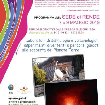 """Unical: il 7 e 9 maggio """"ScienzAperta"""" all'Istituto Nazionale di Geofisica e Vulcanologia"""