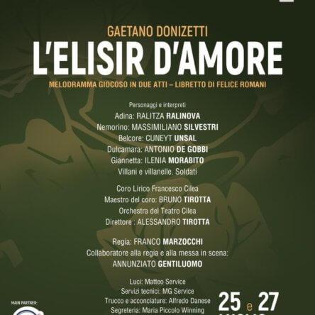 """Il 25 e il 27 luglio """"L'elisir d'amore"""" di Donizetti al Locri Opera Festival"""