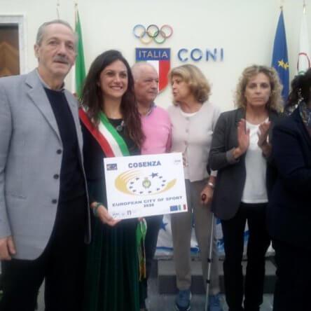 """A Cosenza  il riconoscimento di """"European City of Sport 2020"""""""