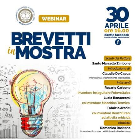 Università Mediterranea: 30 aprile Brevetti in mostra – webinar Facebook