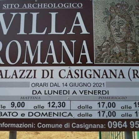 Dal 14 giugno torna fruibile il Sito Archeologico Villa Romana di Casignana